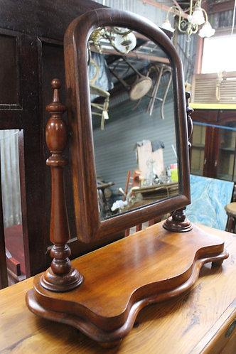 An Antique Victorian Cedar Vanity Mirror - Shaving Mirror