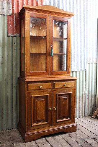 A Petite Vintage Oak Glazed Bookcase Display Cabinet