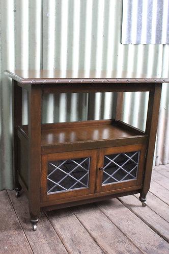 A Vintage Tudor Style Oak & Leadlight Cocktail Drinks Cabinet - Auto Trolley
