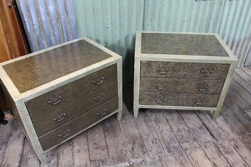 A Large 76cm Pair of Bedside Cabinets - Bedsides with Crocodile Finish - Tables