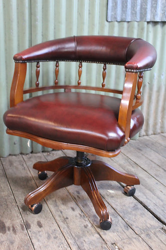 A Vintage Leather & Timber Captains Swivel Office Chair