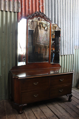 A Classical Antique Mahogany Chippendale Mirrored Dresser with Glass Top