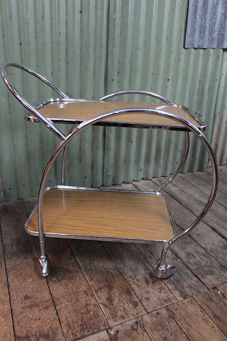 An Art Deco Style Mid-Century Two Tier Auto Trolley with Tray- Drinks Cocktail