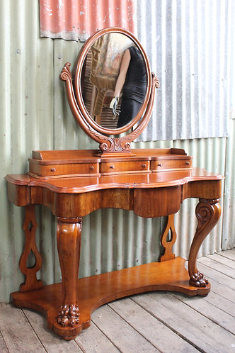 A Stunning Unique Restored Victorian Mahogany Dressing Table with Claw Feet