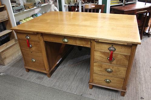 A Large 1920's Australian Silky Oak True Partners Desk 160 cm x 105 cm