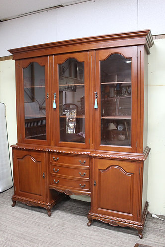 A French Style Double Bodied Mahogany Sideboard with Glazed Display Cabinet