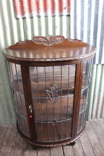 Large Jacobean Demi Lune Leadlight Crystal Display Cabinet - New Mirrored Fitted