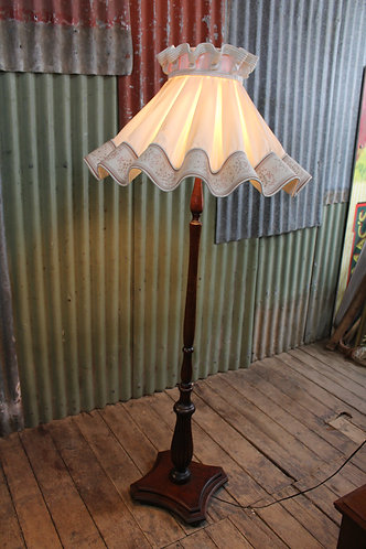 A Gorgeous Antique Oak Standard Lamp with Ballerina Lamp Shade
