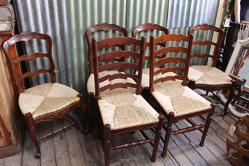 A Set of Six French Ladder Back Dining Chairs