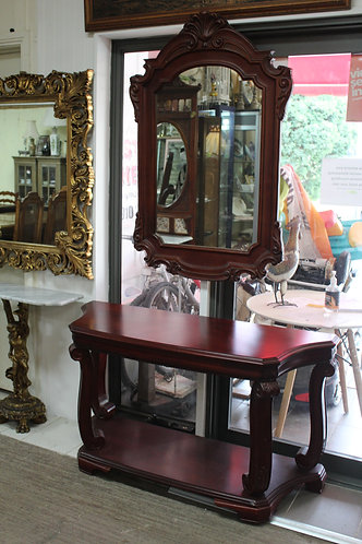 A Large Ornate Vintage Mahogany Console Table with Mirror - Hall Table