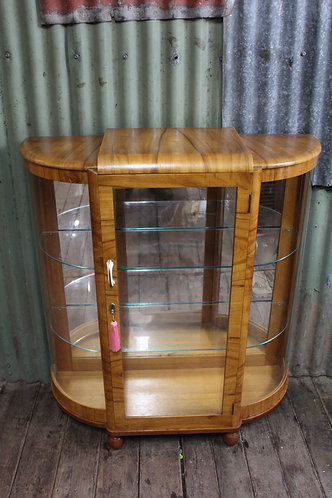 An Art Deco Mirror Back Crystal Display Cabinet with Curved Glass Sides