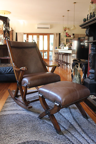 A Classical Leather Rocking Chair with Stool