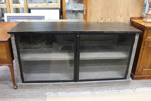A Large Industrial Timber & Iron Glazed Sideboard - Display Cabinet - TV Stand