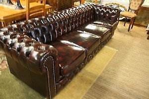 A 100% Leather Chesterfield 4 Seater Sofa with Warranty