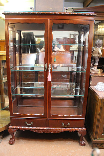 Tall Vintage Chippendale Mahogany Mirror Back Crystal Display Cabinet 2 Drawers