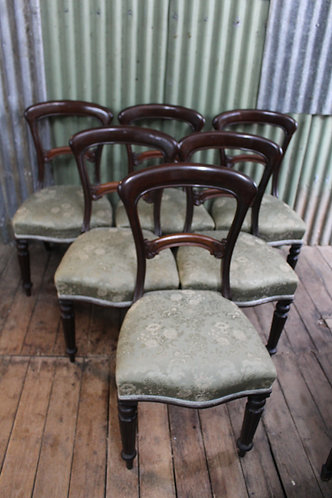 A Set of Six Victorian Balloon Back Mahogany Dining Chairs