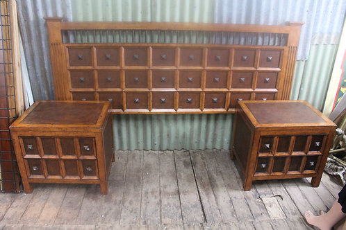 Timber & Iron King or Queen Bed Head & Bedsides *FREE DELIVERY *T&C's