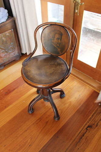 Antique Bentwood Music Chair with Mozart's Portrait from Thonet, 1900s