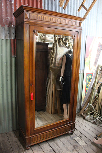 A Tall French Antique Armoire with Mirrored Door *FREE DELIVERY with T&C's
