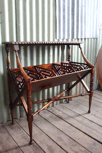 A Vintage Chippendale Mahogany Book Trough Stand - Magazine & Music Rack