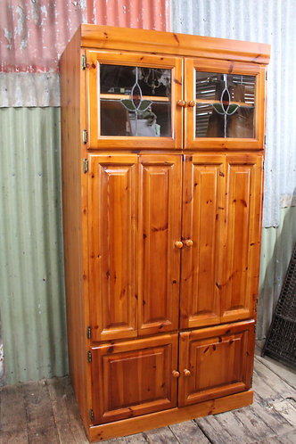 A 2 m Tall Country Cottage Cabinet with Lead Light Pantry Linen Press Storage