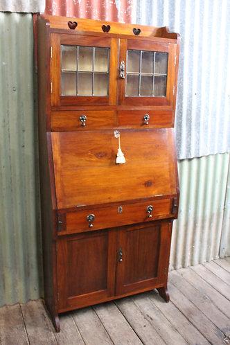 An Arts & Crafts Blackwood Leadlight Bookcase Bureau Cabinet