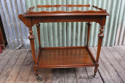 A Vintage Mahogany Two Tier Auto Trolley with Glass Top - Drinks Trolley
