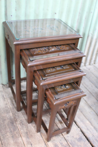 A Good Vintage Nest of 4 Carved Chinese Tables with Glass Insets and a Drawer