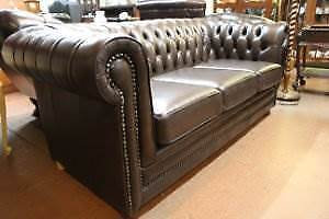 Quality Australian Made 100% Cow Leather Chesterfield 3 Seat Sofa