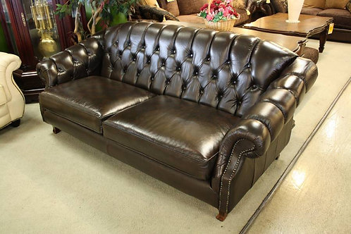 A Classical French Chesterfield 3 Seat Sofa 100% Leather Up to 5 Year Warranty