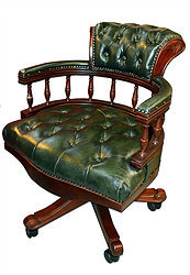 Chesterfield Leather Captains Office Chair with Warranty - Various Colours