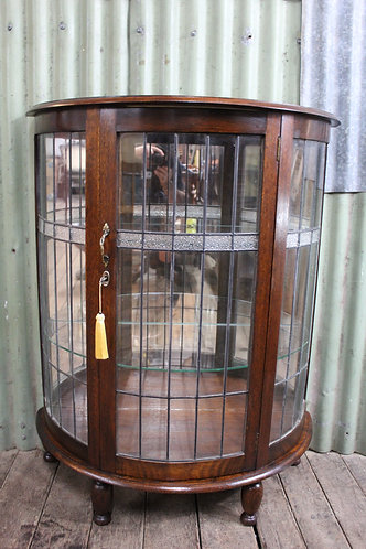 A Jacobean Demi Lune Leadlight Mirror Back Crystal Display Cabinet C.1920's