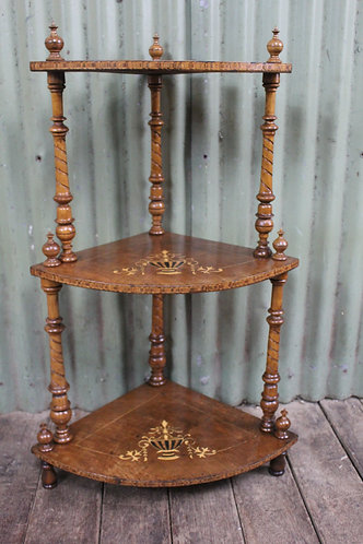 A Victorian 3 Tier Corner Whatnot with Inlaid