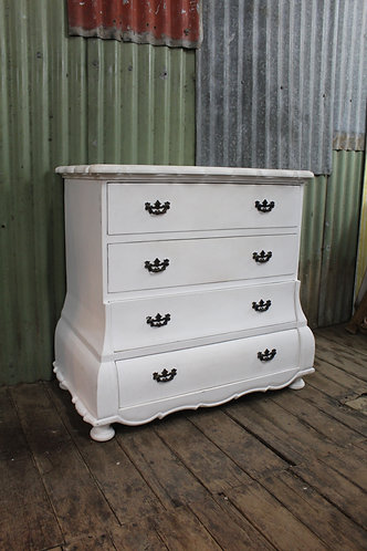 A Solid Vintage French White Chest of Drawers
