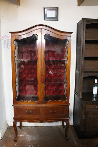 A Vintage French Crystal Display Cabinet - Chesterfield Velour Backing
