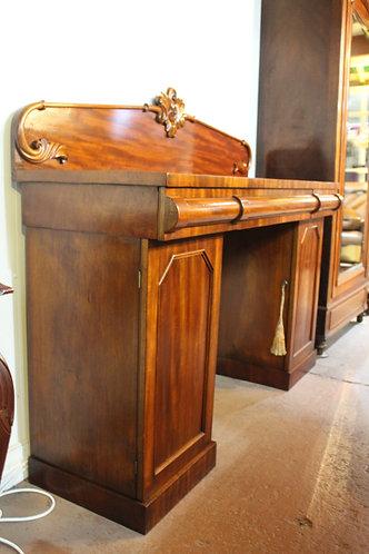 A Victorian Cedar Twin Pedestal Cellaret Sideboard Buffet with Carved Backboard