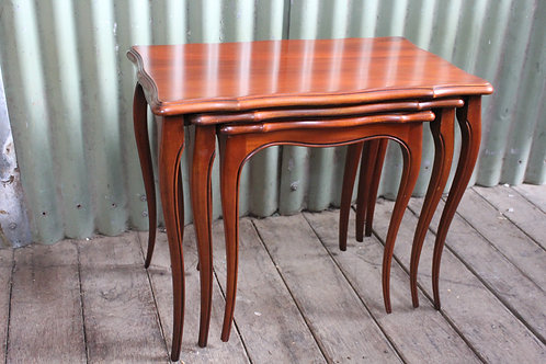 A Vintage Nest of French Mahogany Tables