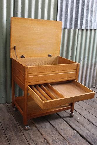 A Vintage Oak Cutlery Canteen - Auto Trolley - Sewing Box - Drinks Trolley