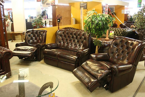 A Chesterfield 3 Piece Suite with 2 Recliners 100% Leather