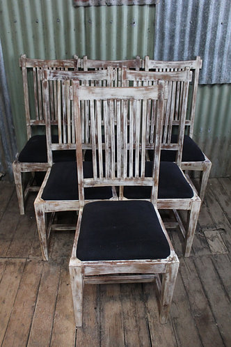 A Good Sturdy Set of Six French Style White Washed Chairs