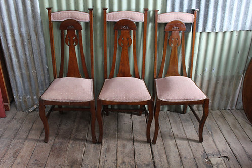 A Lovely Set of Six Arts & Crafts Oak High Back Dining Chairs Circa.1900's