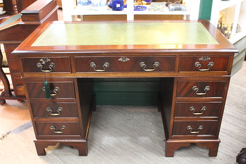 A Vintage Georgian Style Flame Mahogany Twin Pedestal Desk with Leather Inset