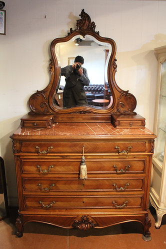 A Tall Stunning French Louis XV Marble Top Mirror Dresser