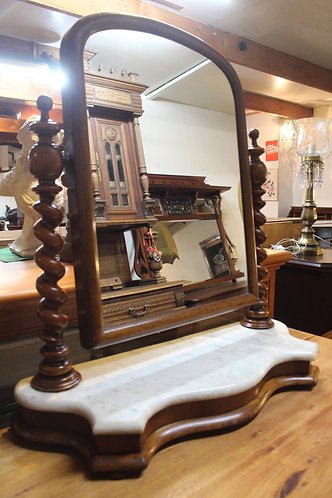 A Large Victorian Vanity Shaving Mirror with Marble Base and Barley Twist
