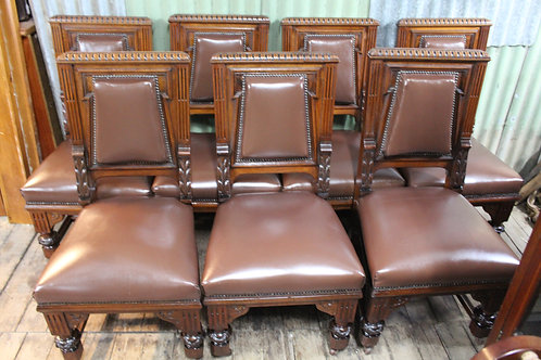 An Awesome Set of Six + One Antique Gothic Dining Chairs