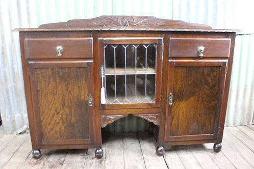 A Jacobean Oak Sideboard Buffet with Leadlight Cabinet Circa 1920's