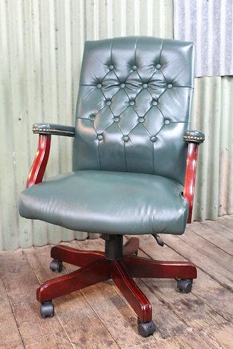 A Vintage Chesterfield Office Chair on Swivel Base & Castors - Tilt & Height Adj