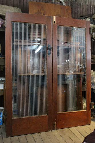 A Solid Pair of Art Deco Glazed Fitted French Doors with Frosted Stripes