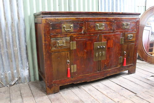 A Vintage Distressed Chinese Elm Sideboard Cabinet - Ideal for TV
