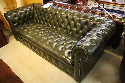 A Fully Buttoned Chesterfield 3 Seat Sofa - 100% Leather - 5 Year Warranty
